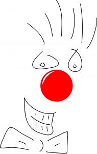 """No Sweat Public Speaking!"" Clown Illustration"